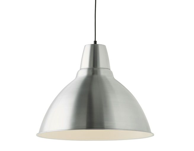 The IKEA FOTO pendant lamp is made of aluminium and is ready to hang from the ceiling.