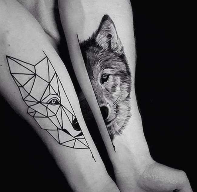 Tatouage de Femme  Tatouage Loup Noir et gris sur Bras !
