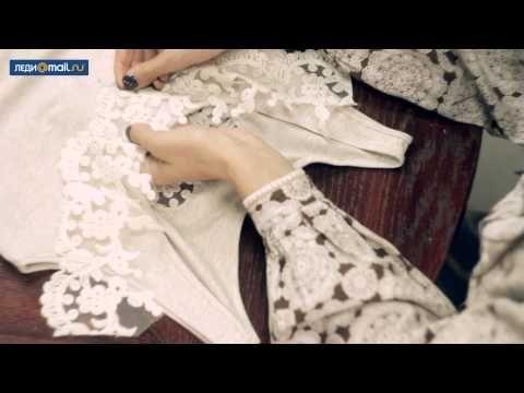 Как декорировать майку кружевом и бусинами - YouTube