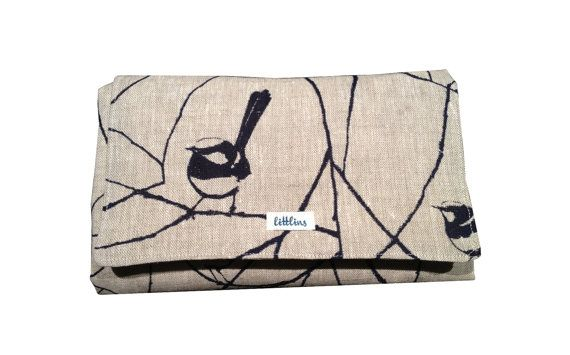 Inky Blue Wrens  Boutique Nappy Wallets / Change Mats by littlins