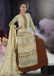 Party Wear Cotton Cream Embroidered Work Plazzo
