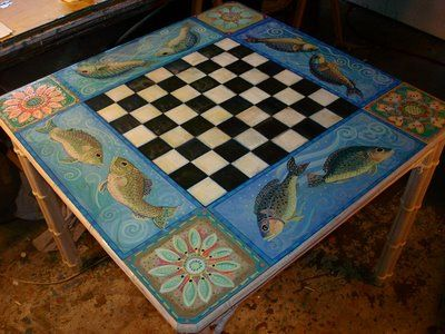 Pam Marwede Painted Game Table
