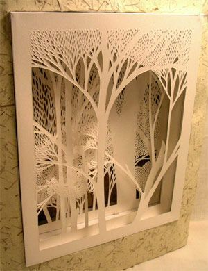 absolutely beautiful.  layered paper cutting.  trees