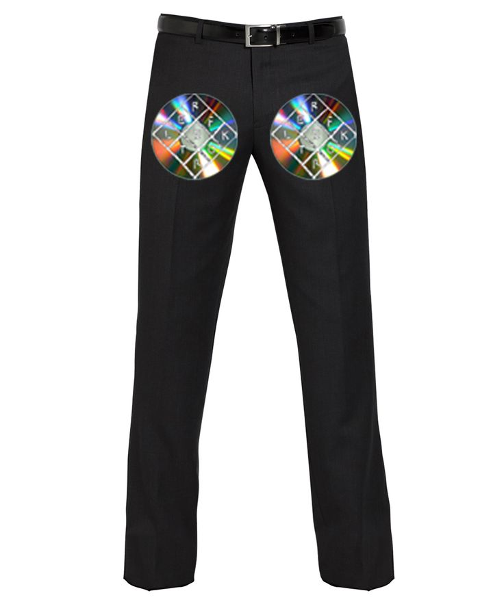 Reflektor Suit Pants:  A pair of plain black suit pants with a CD pinned onto each pant leg with the Reflektor logo Sharpied on in black or silver ink.