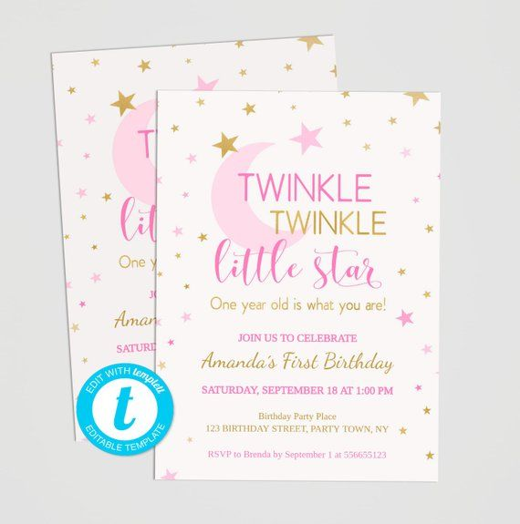 Twinkle Little Star First Birthday Invitation Girl Pink And Gold 1st Online Editable Template On Templett