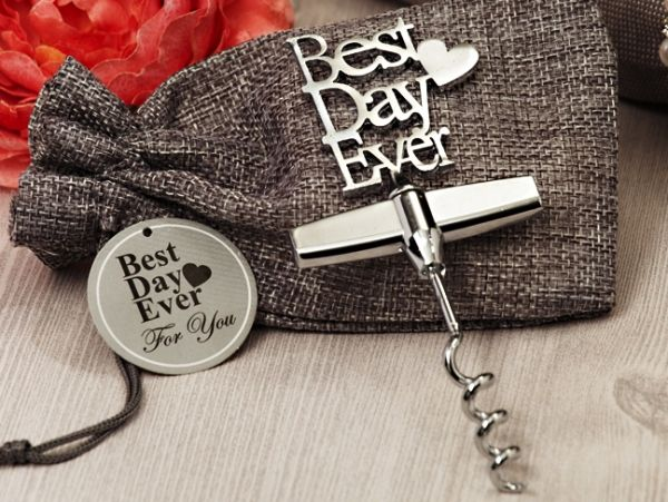 Our Best Day Ever Chrome Wine Opener (Cassiani Collection 4030) | Buy at Wedding Favors Unlimited (https://www.weddingfavorsunlimited.com/our_best_day_ever_chrome_wine_opener.html).