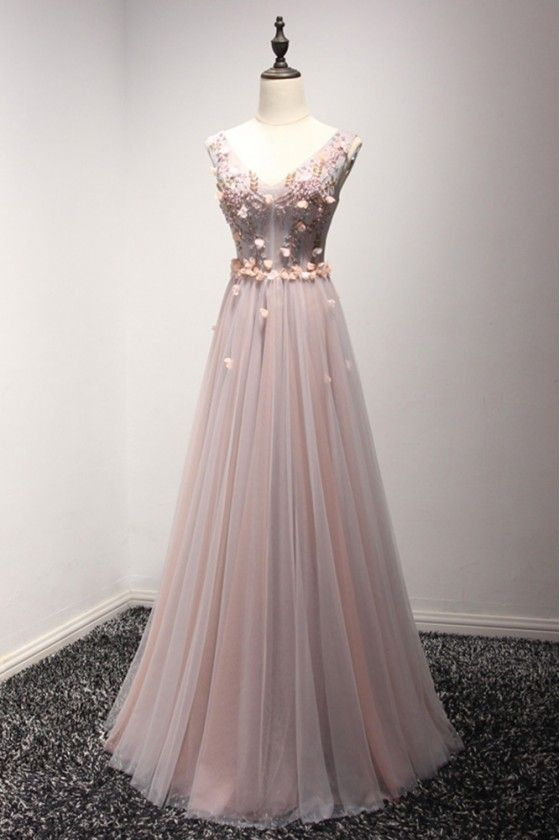 2b030b3ee77 Long Floral Pink And Grey Prom Dress With Beading Sweetheart Neck -  149   AKE18001 - SheProm.com