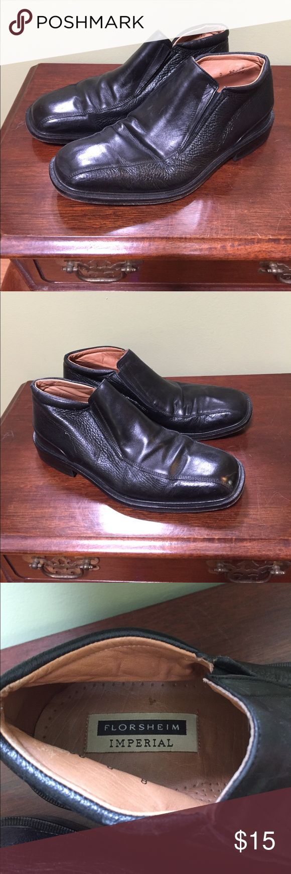 Florsheim imperial black leather men's shoes 8 Florsheim imperial black men's all leather loafers men's size 8 D- shows signs of use but still have life left - does not come w box - Florsheim Shoes Loafers & Slip-Ons
