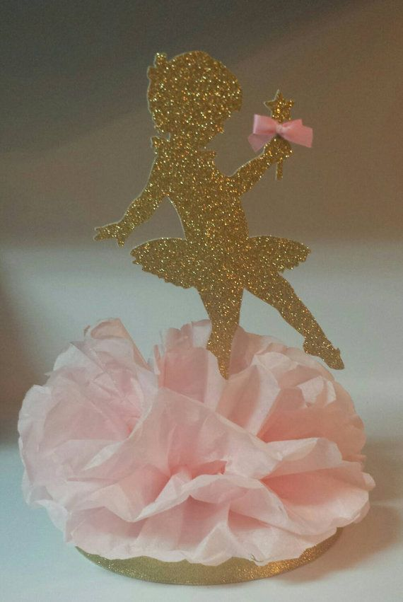 Gold glitter Ballerina birthday party or ballet centerpiece decoration topper by KhloesKustomKreation