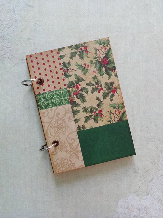 Christmas patchwork notebook scrapbook small by inkandflower