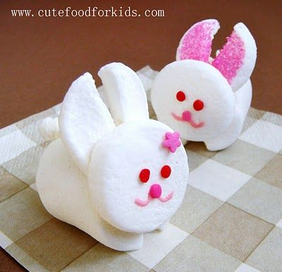 We used these to top off some Easter cupcakes for preschool.  She has a lot of other cute food ideas for kids, too!