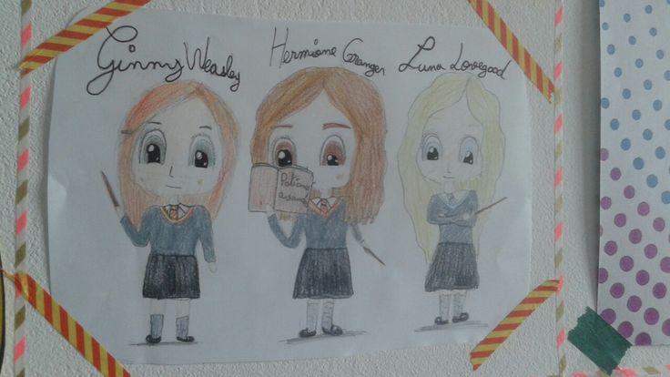 Ginny Hermione Luna chibi harry potter