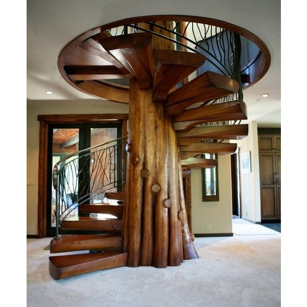 wooden-spiral-staircase.jpg (JPEG Image, 600×724 pixels) - Scaled... ❤ liked on Polyvore
