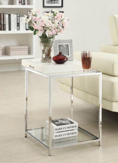 Amazon.com - Convenience Concepts Palm Beach End Table, Black - Glass Side Table