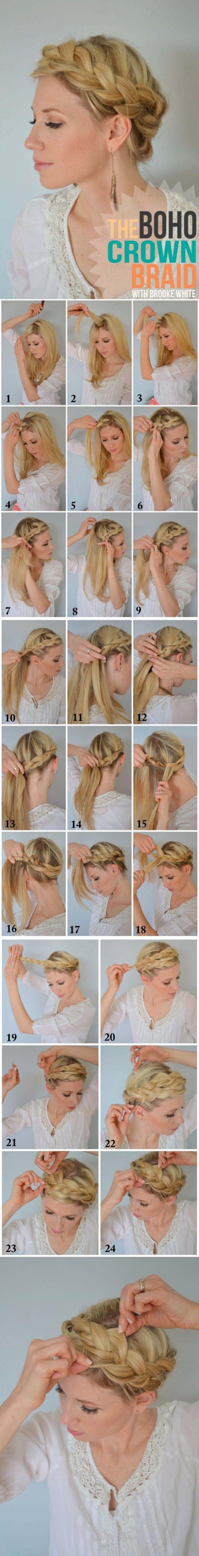 Руководство → Как заплести косу-корону или греческую косу в стиле «Бохо» (подробная инструкция с фото)