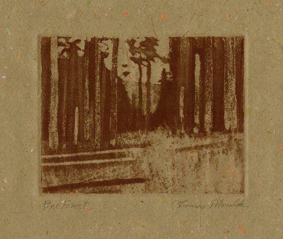 Pine Forest original aquatint etching on handmade by printsnat, $9.99