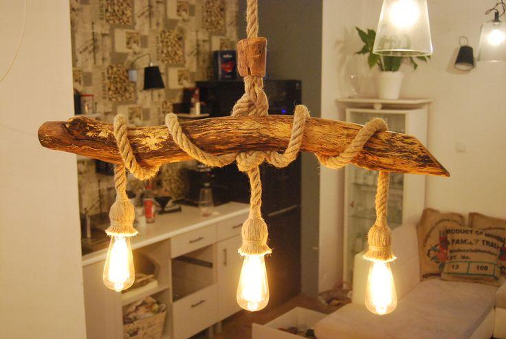 Lampa Sufitowa Wisząca Z Drewna Bukowego