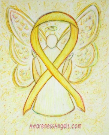 The yellow awareness ribbon shows support bladder cancer, Let this yellow ribbon awareness angel give them support! I AM A SURVIVOR!!