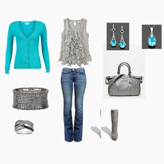 Aqua.: Outfits, Colors Combos, Dreams Closet, Clothing, Blue, Aqua Grey, Aquagrey, Aqua Gray, Ruffles