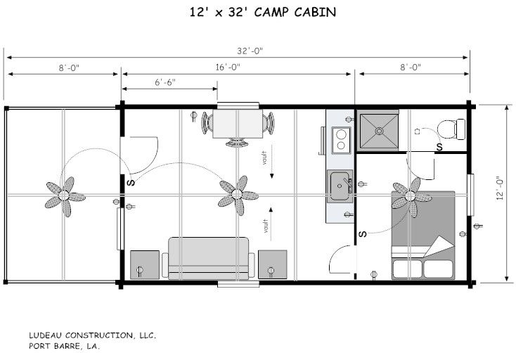12 X 32 House Plans 12 X 44 Camp Cabin In 2019