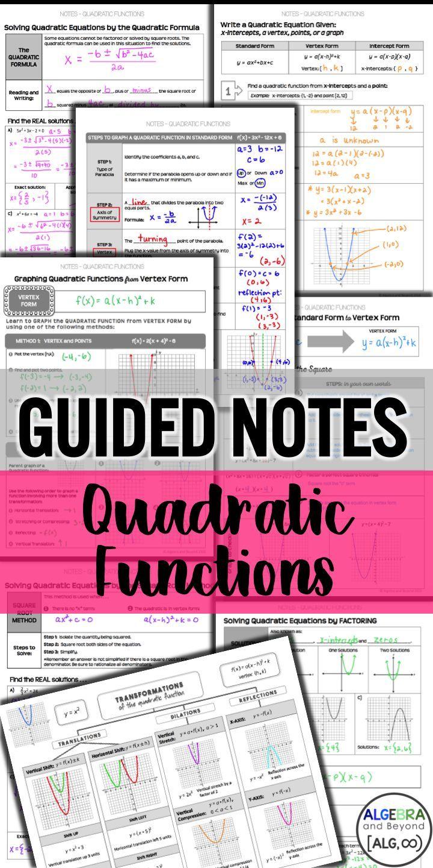 Quadratic Functions Unit Guided Notes Practice Homework And Applications Quadratics Quadratic Functions Teaching Algebra