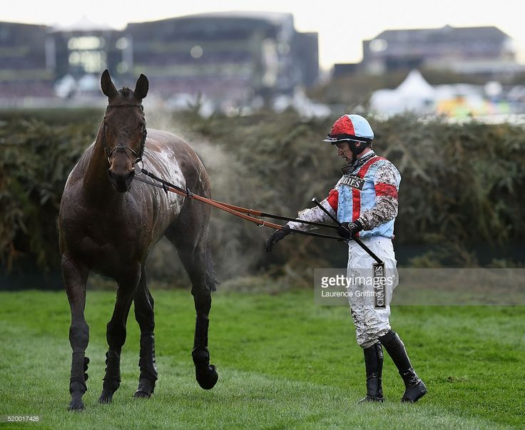Will Kennedy with Katenko recover from a fall during the 2016 Crabbie's Grand National Steeple Chase at Aintree Racecourse on April 9, 2016 in Liverpool, England.