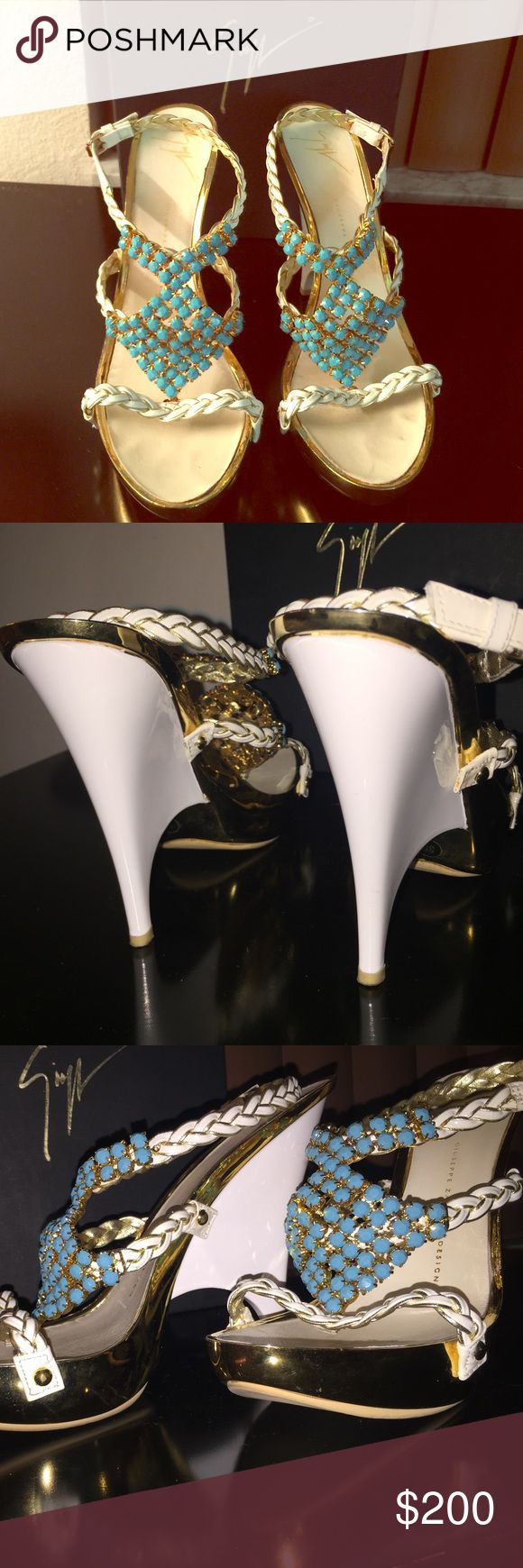 *Authentic* Giuseppe Zanotti Design Authentic Giuseppe Zanotti Design! White, Gold & Turquoise. Show Stoppers! These shoes have been used, however they are in great condition! See pictures. If you have an inquiry or would like more pictures please let me know. Comes with Shoe bag and shoe box Giuseppe Zanotti Shoes Heels
