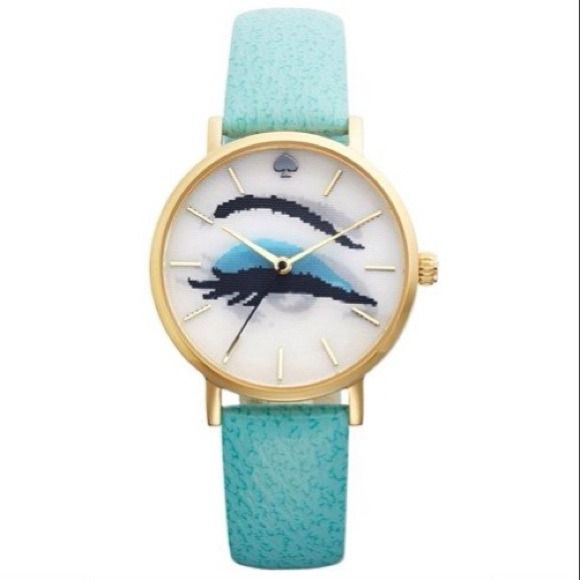 Host Pick!✨ Kate Spade hologram 'metro' watch Authentic Kate spade New York metro hologram watch with turquoise leather strap. Brand new, never worn. Comes in original packaging and adorable box! kate spade Accessories Watches