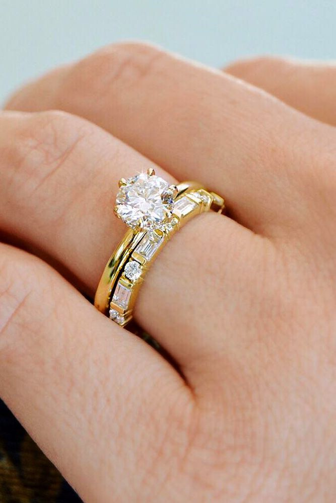 27 The Best Yellow Gold Engagement Rings From Pinterest Simple Gold Wedding Rings Sets Wedding Rings Sets Gold Vintage Engagement Wedding Rings