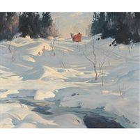 Horse drawn sleigh on a winter trail by Eric Riordon