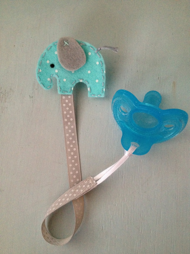 Aqua Elephant - Featured by Tori Spelling - Felt Pacifier Clip - Ready to Ship. $9,00, via Etsy.