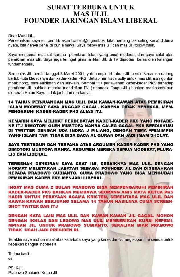Surat terbuka untuk founder Jaringan Islam Liberal (JIL), oleh eli (@digembok)