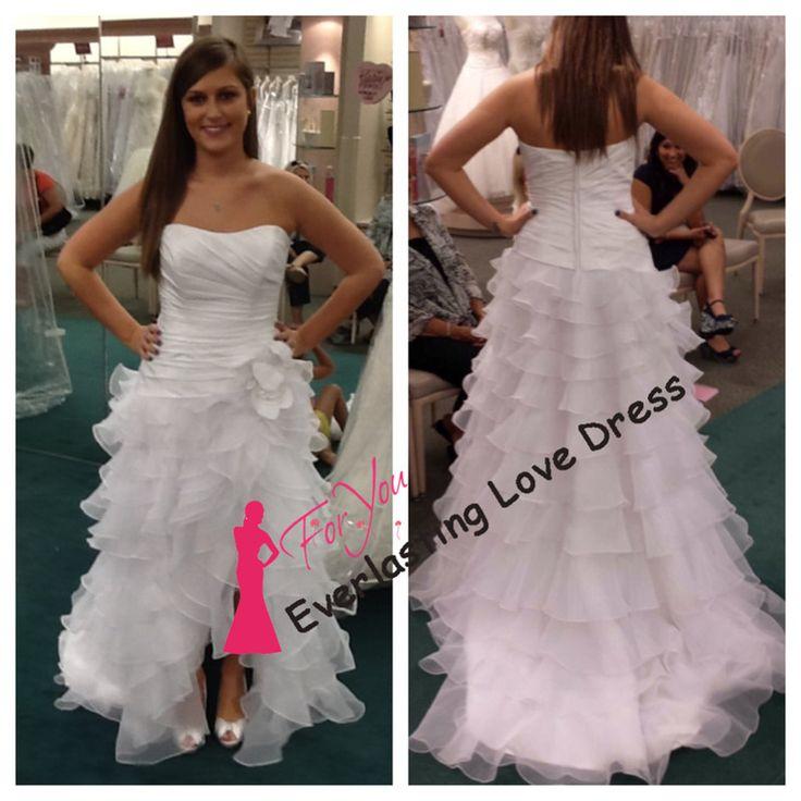 Очаровательная милая Ruched раффлед органзы передняя короткие длинные назад свадебные платья ручной работы цветы свадебные импортные платье