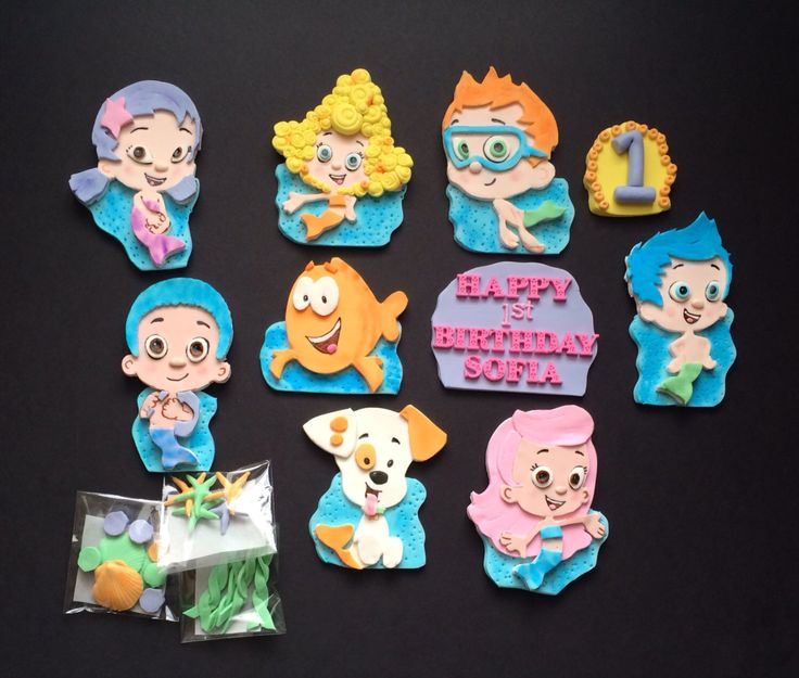 Edible Bubble Guppies Fondant / Gumpaste Cake topper by SabzCakes on Etsy https://www.etsy.com/listing/176040676/edible-bubble-guppies-fondant-gumpaste