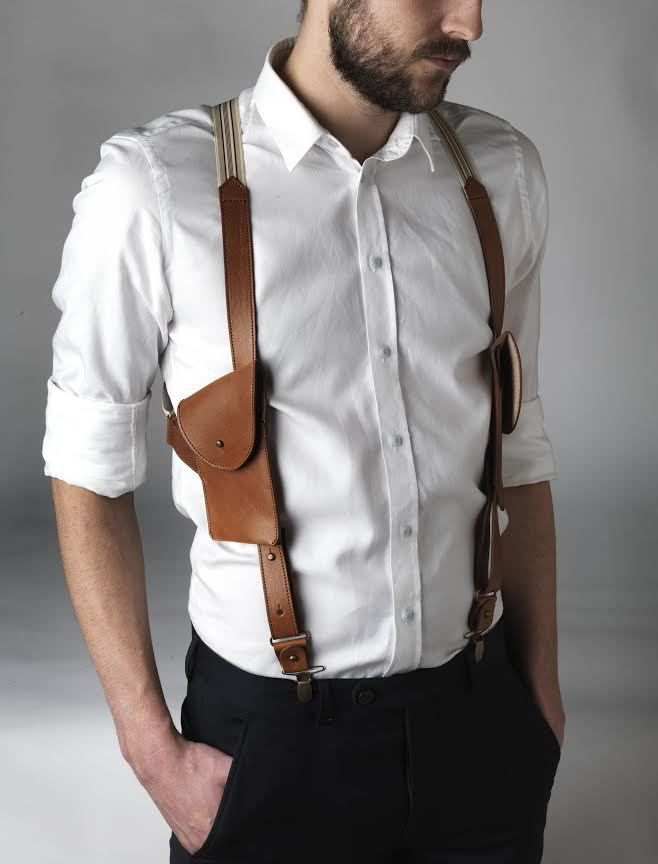 LEATHER BRACES WITH POCKETS THIS SUSPENDER IS MADE IN BELGIUM, I HAD IT MADE IN A LIMITED EDITION. YOU CAN REMOVE THE POCKETS IF YOU WISH TO WEAR THE SUSPENDERS PLAIN. YOU CAN ALSO CHOOSE TO WEAR ONLY ONE POCKETTHE POCKET WILL FIT AN I PHONE. YOU CAN CONNECT THE SUSPENDERS TO YOUR PANTS WITH CLIPS OR WITH BUTTONS BY CHOICE. WWW.MAYENNE-NELEN.COM