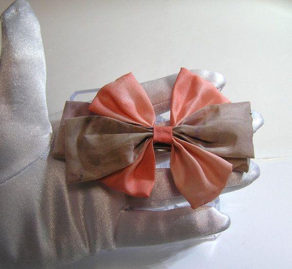 hand made peach and moka color BOW BARRETTE hair by rankaswedding