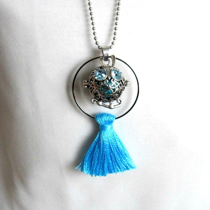 Bola de grossesse minimaliste argenté et bleu turquoise hibou, cadeau femme enceinte, cercle, pompon, chaîne à billes en acier : Collier par color-life-bijoux