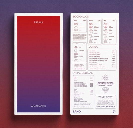 menu design for Spanish juice chain Sano, created by Marina Soto