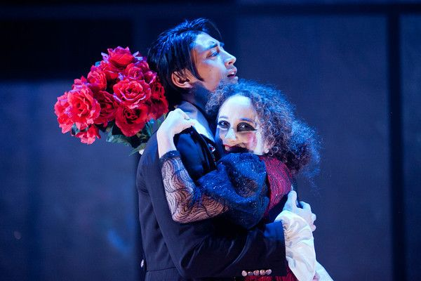 Rachael Jacobs as Sybil Vane and Dallas Tolentino as Dorian Gray in The Picture of Dorian Gray at Synetic Theater in Washington DC. #theater #synetictheater #washingtonDC #theatre #physicaltheater #OscarWilde #DorianGray #ThePictureofDorianGray #SybilVane