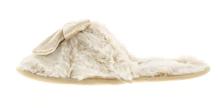 Kisses Lulu Ladies Faux Fur Mule Slipper, With Cream Velour Bow To The Upper | Beige | Wynsors