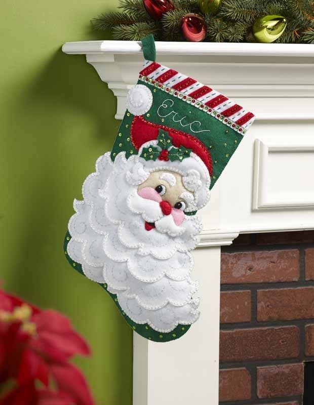 "Bucilla 18"" Christmas Felt Stocking Kit ""Jolly Saint Nick"" sequins Santa NEW #Bucilla"