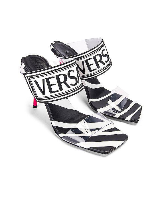 VERSACE Logo Clear Heel Sandals in