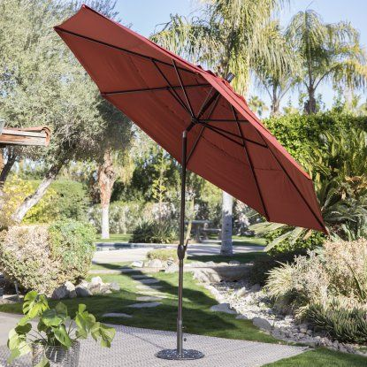 Coral Coast 11-ft. Spun Polyster Patio Umbrella with Push Button Tilt