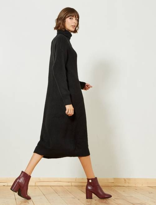 6af07e20451 Robe pull longue col roulé noir Femme - Kiabi