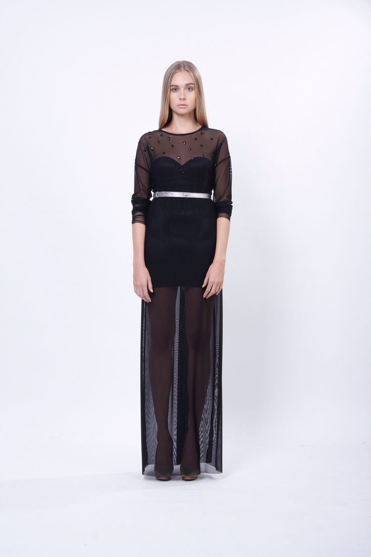long transparent dress with metalic leather belt, design Lucie Kutálková, LEEDA store