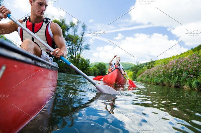 Young People Canoeing by nullplus Stock Photograph on @creativemarket