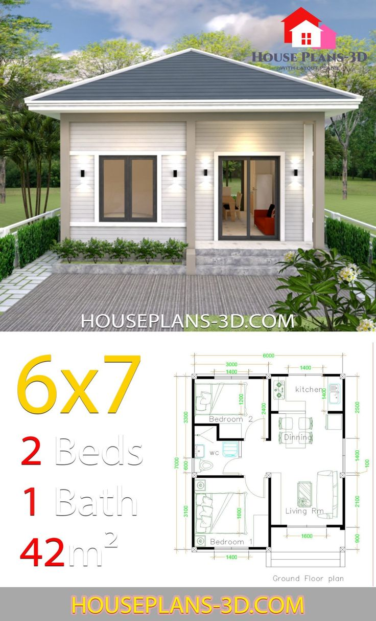 Simple House Plans 6×7 with 2 bedrooms Hip Roof House