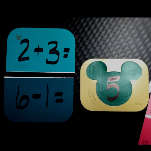Math game using Disney Paint Chips