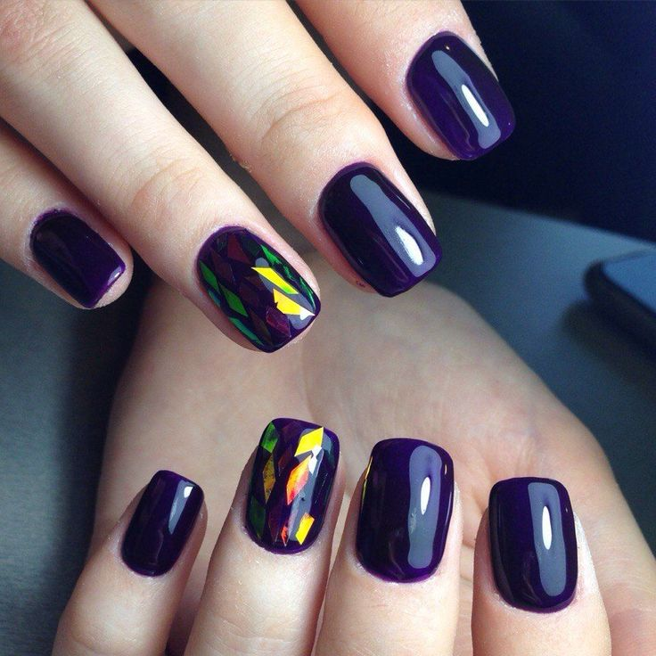 Beautiful new year's nail, Broken glass by shellac, Broken glass on short nails, Christmas gel polish, Fall nails ideas, Fashion broken glass nails, Ideas of violet nails, January nails