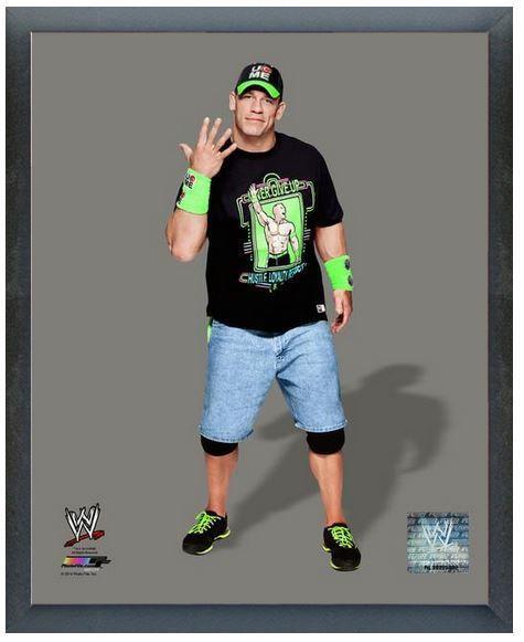 """John Cena 2014 WWE - 11"""" x14"""" Photo in a Glassless Wood Sports Frame"""